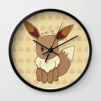 eevee Wall Clocks featuring Eevelution - Eevee by UncannyViolet
