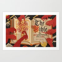 bible Art Prints featuring The Bible by Maëlle Doliveux