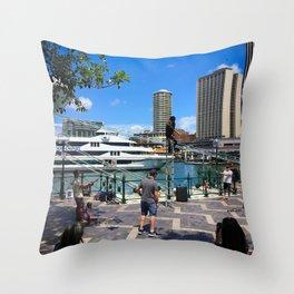 Busking Around Circular Quay Throw Pillow