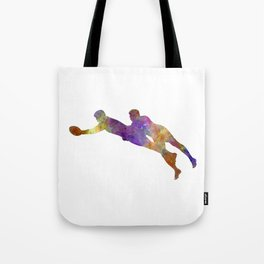 Rugby men players 03 in watercolor Tote Bag