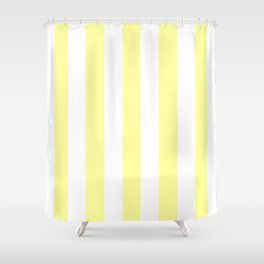 Lemon yellow (Crayola) - solid color - white vertical lines pattern Shower Curtain