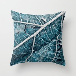 Frozen Winter Leaf Throw Pillow