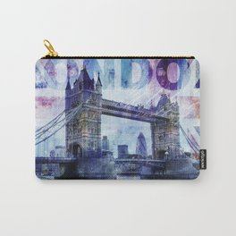 London Tower Bridge mixed media Art and Typography Carry-All Pouch