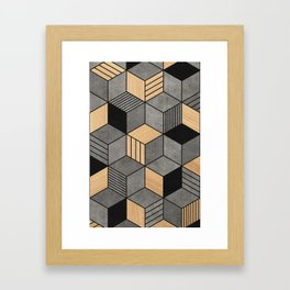 Concrete and Wood Cubes 2 Framed Art Print
