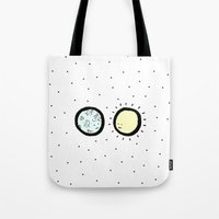 sun and moon Tote Bags featuring Moon & Sun by itishazel