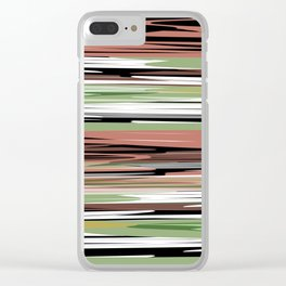 Abstract stripes in brown olive Clear iPhone Case