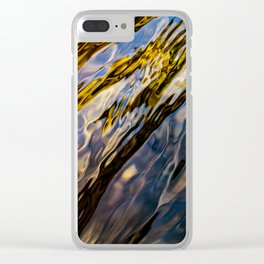 River Ripples in Copper Gold Blue and Brown Clear iPhone Case