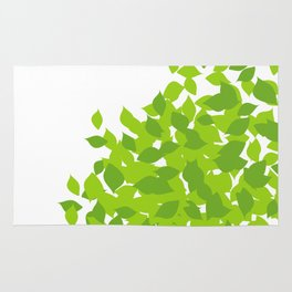 Composition with fresh green spring leaves- earth day gift Rug