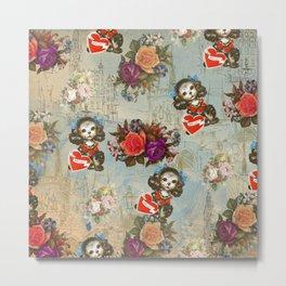 Shabby vintage dog floral landmark pattern Metal Print