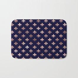 Royal Blue Rose Gold Pattern Bath Mat