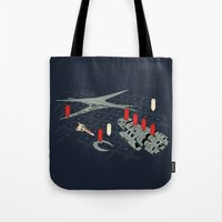 battlestar Tote Bags featuring You Sunk My Battlestar by Caddywompus