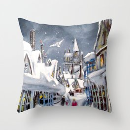 Snowy Hogsmeade Throw Pillow
