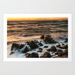 Sunset at Rancho Palos Verdes coast in California USA Art Print