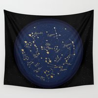 constellations Wall Tapestries featuring Constellations by Cina Catteau