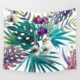 Tropical Floral Pattern 04 Wall Tapestry
