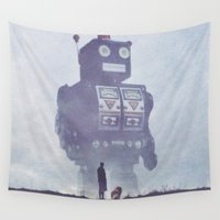 robots Wall Tapestries featuring BEWARE THE GIANT ROBOTS! by yurishwedoff