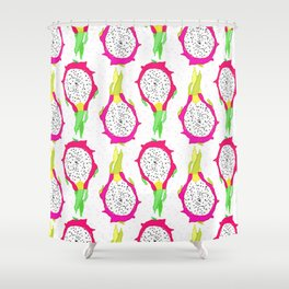 Dragonfruit Slices in Dotty White Shower Curtain
