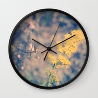 rileigh smirl Wall Clocks featuring Yellow Flower by Rileigh Smirl