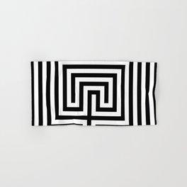 Cretan labyrinth in black and white Hand & Bath Towel