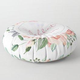 Watercolor Flowers Shabbat Shalom Jewish Art Floor Pillow