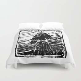 Harris Hawk Woodcut Duvet Cover