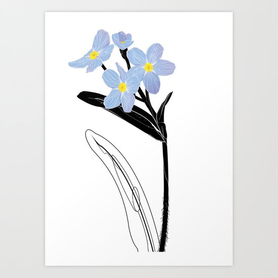 'I think of you Bernie' / Forget-me-not Art Print