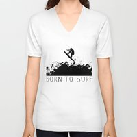 surfer V-neck T-shirts featuring Surfer by Emir Simsek