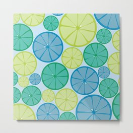 For The Love of Citrus Blue Green combo Metal Print