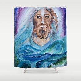 Jesus Painting Portrait Shower Curtain