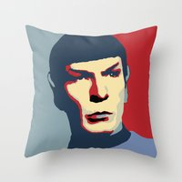spock Throw Pillows featuring Spock by Blueshift