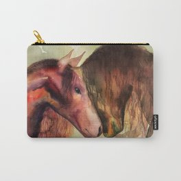 Two Horses watercolor painting Carry-All Pouch
