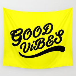 Good Vibes Happy Uplifting Design Black And Yellow Wall Tapestry