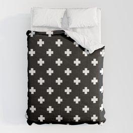 White Swiss Cross Pattern on black background Comforters
