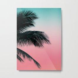 Palms Leaves Sunset Metal Print