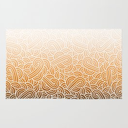 Ombre orange and white swirls doodles Rug
