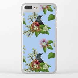 Tui in Pohutukawa Flowers Clear iPhone Case