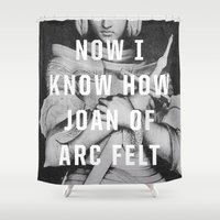 smiths Shower Curtains featuring Joan of Arc by Anna Dorfman