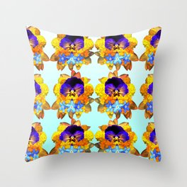 Royal Pansy Throw Pillow