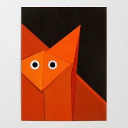 Dark Geometric Cute Origami Fox Poster