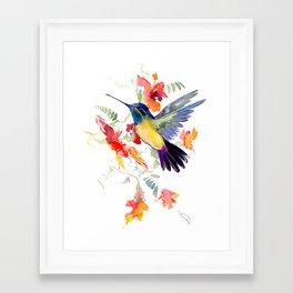 Hummingbird, floral bird art, soft colors Framed Art Print