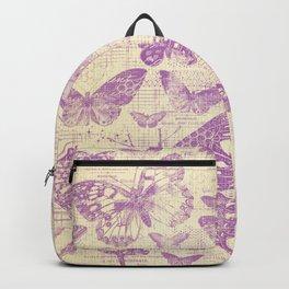 purple, vintage, butterflies, parchment Backpack