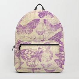 purple, vintage, butterflies, parchment Backpack