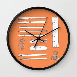 Stationery in orange Wall Clock