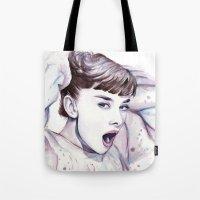 hepburn Tote Bags featuring Audrey Hepburn Watercolor by Olechka