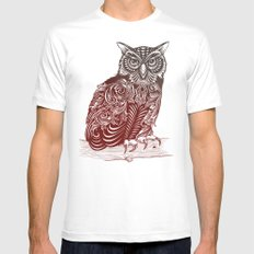 Most Ornate Owl MEDIUM Mens Fitted Tee White