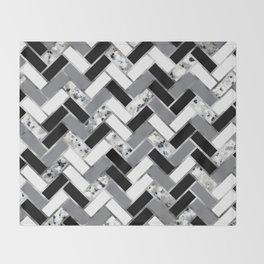 Shuffled Marble Herringbone - Black/White/Gray/Silver Throw Blanket