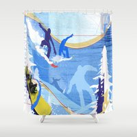 snowboarding Shower Curtains featuring Snowboarding by Robin Curtiss