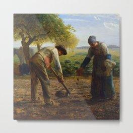 """Jean-François Millet """"Potato Planters"""" Metal Print"""