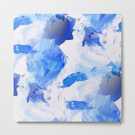 Blue Oil Brush Strokes Metal Print