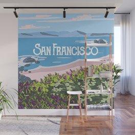 San Francisco, California Beach Succulents Illustration Wall Mural